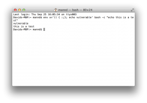Script showing my Mac is vulnerable to ShellShock.